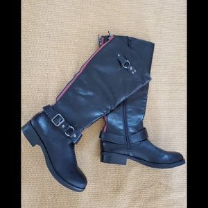 Madden Girl Black Boots with red zipper